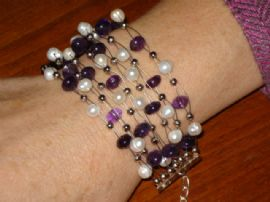 A New Multistrand Bracelet with Freshwater Pearls and Amethyst Beads